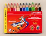 Набор карандашей Stabilo Trio , 12 цветов, трехгранные, утолщенные, укороченные